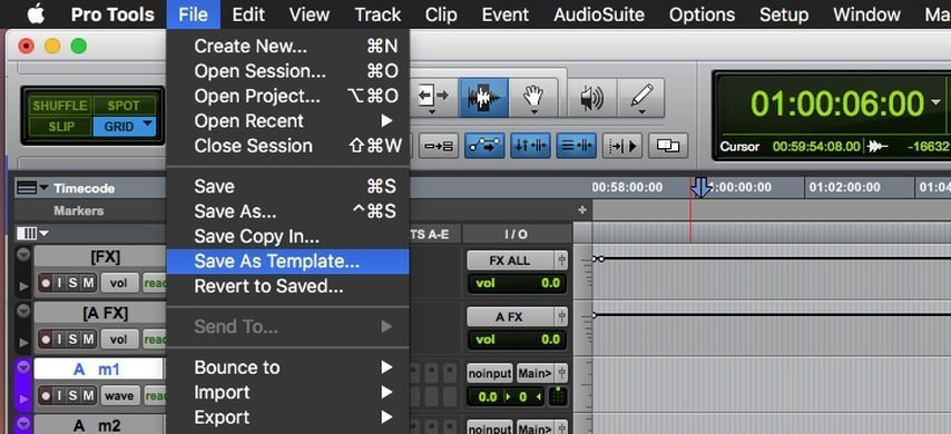 Save As Template in ProTools
