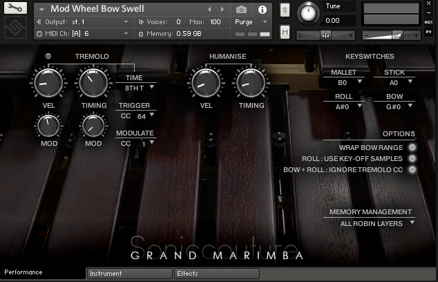 Kontakt with an example virtual instrument
