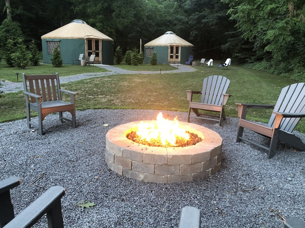 Fire pit with yurt
