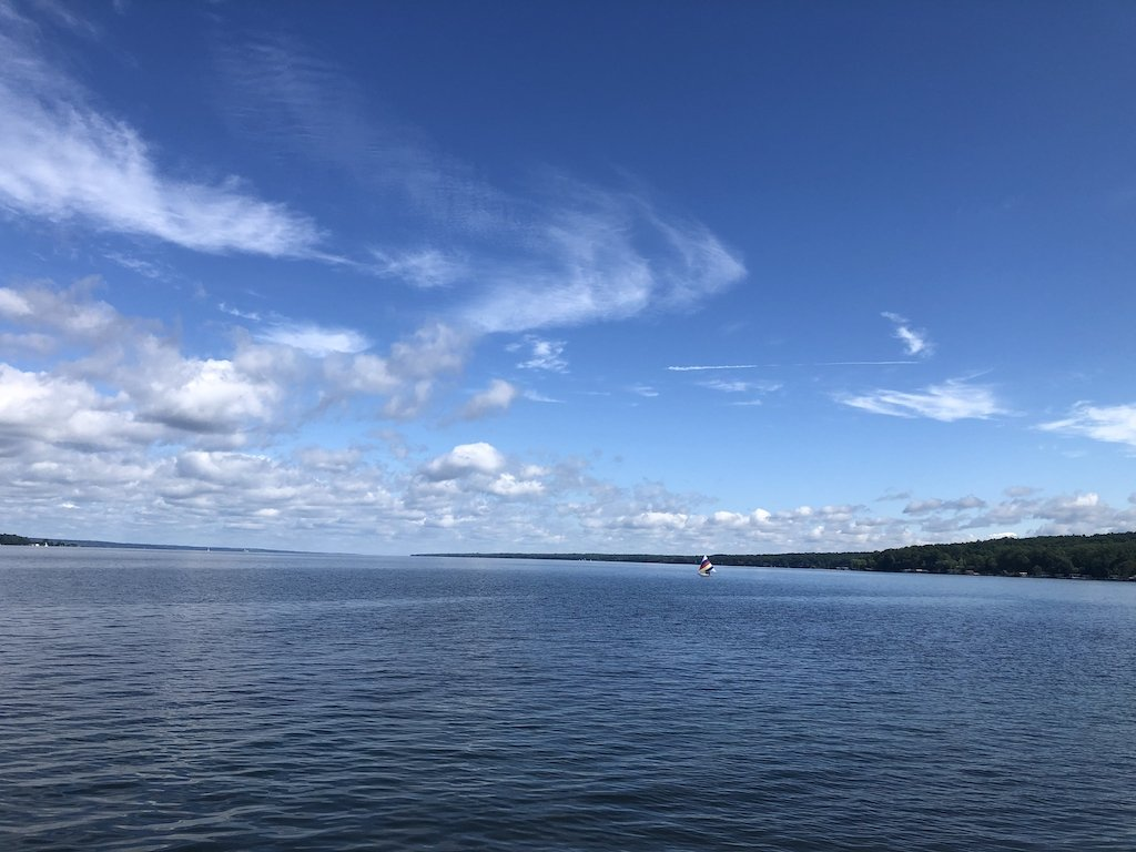 Seneca lake with sailing boat