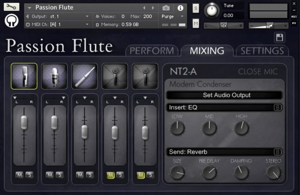 Mixing page for Passion Flute