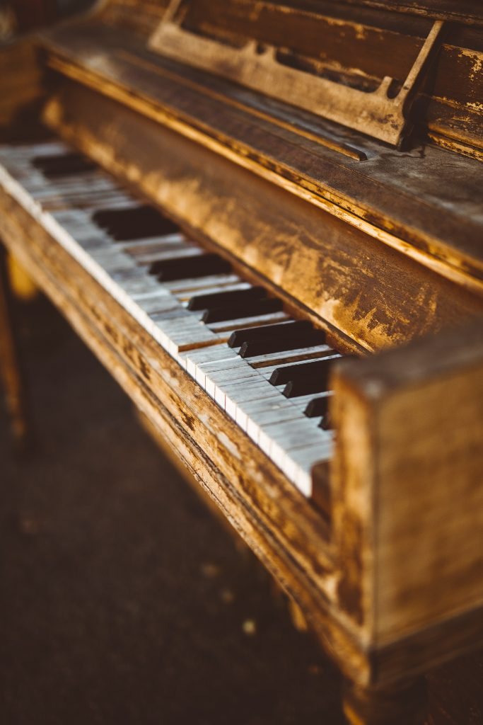 Broken upright piano
