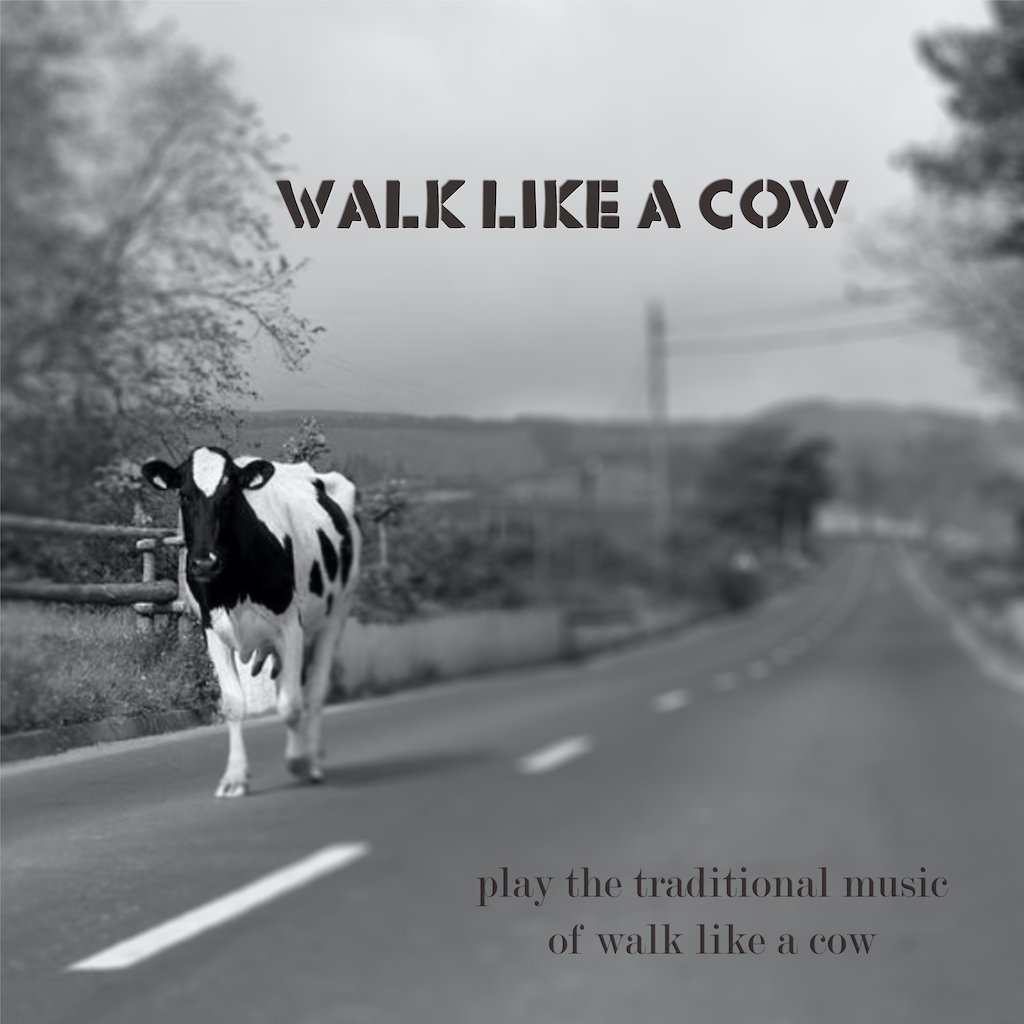 """A cow walking down a road on the cover of the debut album by """"Walk Like A Cow"""""""