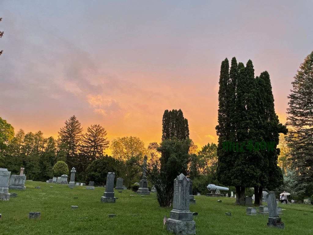 Sunset at a cemetary