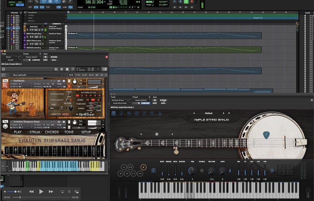 Three banjo virtual instruments in a Protools recording project