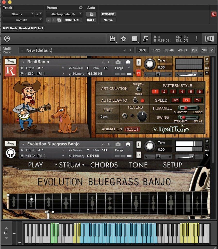 RealiBanjo and Evolution Bluegrass Banjo virtual instruments in Kontakt