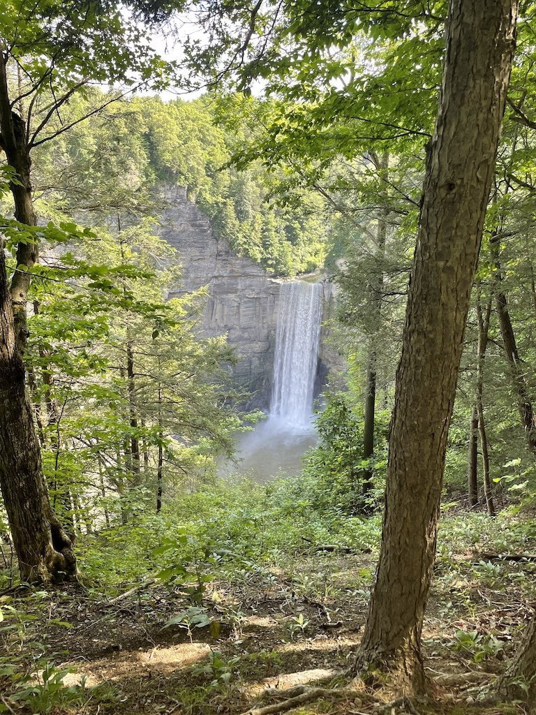 Taughannock Falls seen through the forest during early summer in the Finger Lakes